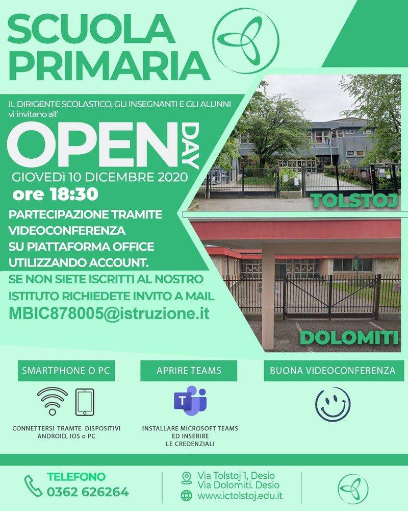 Locandina open day scuola primaria